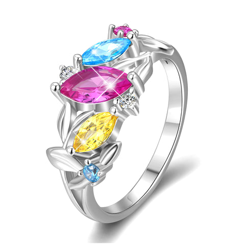 Flower Cubic Zirconia Rings Colorful Small Beads Design Rings
