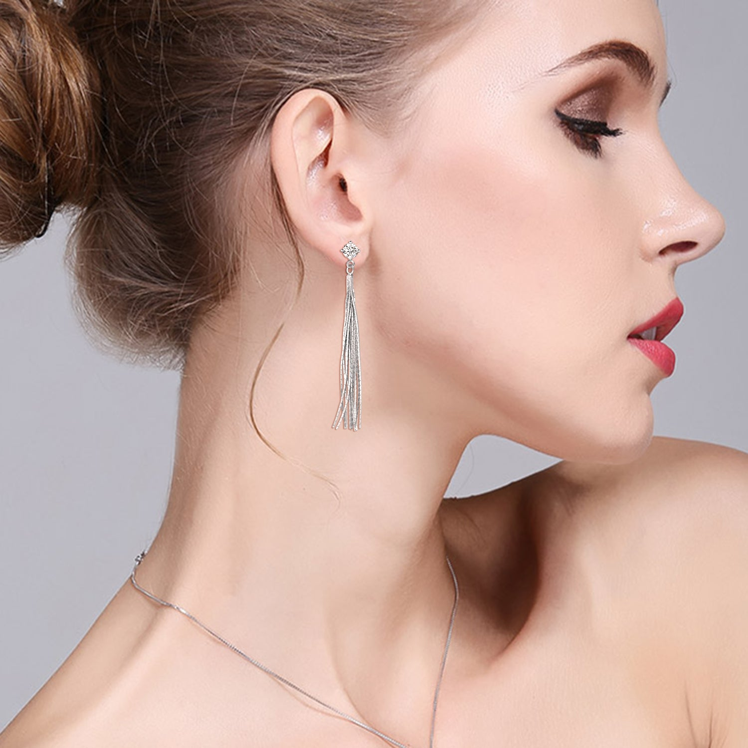 Tassel Earrings Long Fashionable Style for Women Party Silver Earrings