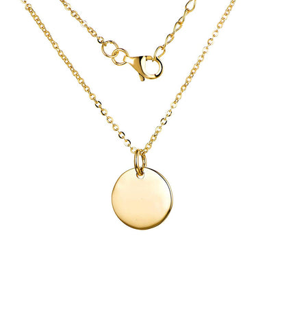 14k yellow Gold Round Circle Pendant Necklace, chain 40-50cm