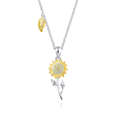 925 Sterling Silver Heart Sunflower Pendant Necklace - You are My Sunshine Jewelry Gift for Women Girls