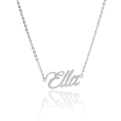 """Ella""-Copper/Steel/925 Sterling Silver Personalized Classic Name Necklace Adjustable 16""-20"""