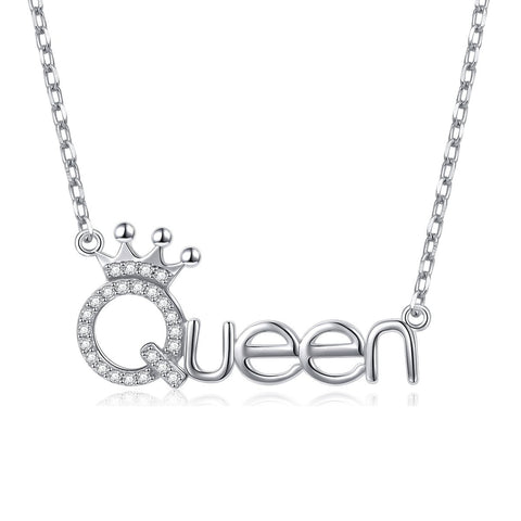 White CZ Crown Queen Pendant