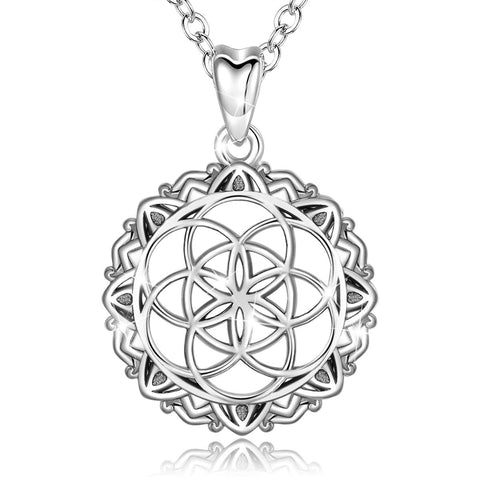 S925 Sterling Silver  Celtic Knot Necklace seed of life Necklace Celtic Infinity Jewelry Gifts for Her
