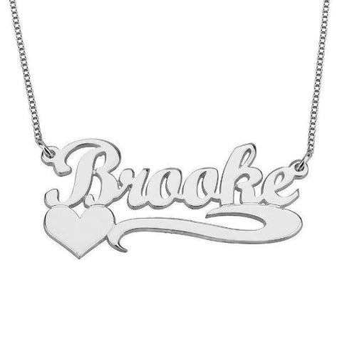 Personalized 925 Sterling Silver Name Necklace with Heart
