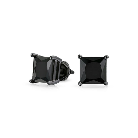 Black Square CZ Solitaire Princess Cut Stud Earrings For Men Women Screwback IP Plated 925 Sterling Silver