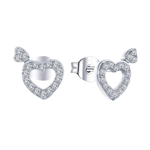 14K White Gold Heart Shape Diamond Stud Earrings