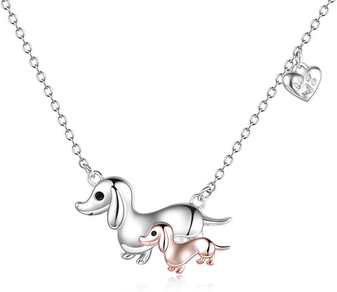 Dog 925 Sterling Silver Love Heart Pendant Necklace