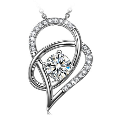 Silver Love Heart Cubic Zirconia Pendant Necklace