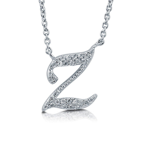 Rhodium Plated Sterling Silver Cubic Zirconia CZ Initial Letter Wedding Pendant Necklace