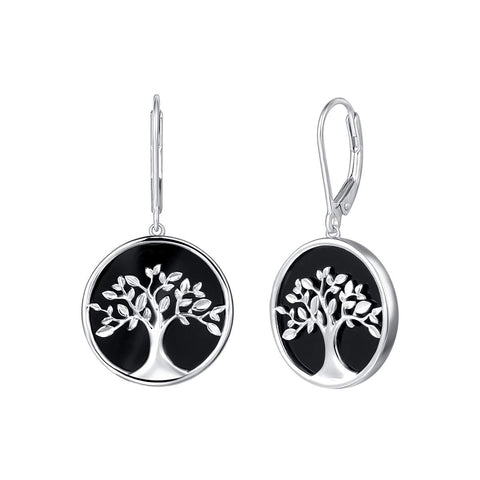Tree of Life Dangle Earrings Sterling Silver Natural Black Onyx  Mother of Pearl Fine Jewelry