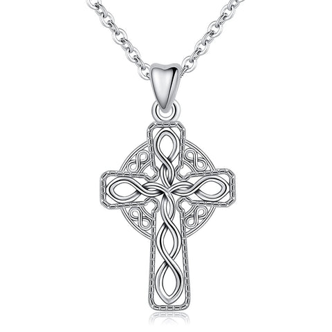 S925 Sterling Silver Cross&Infinity Necklace Pendant for Women