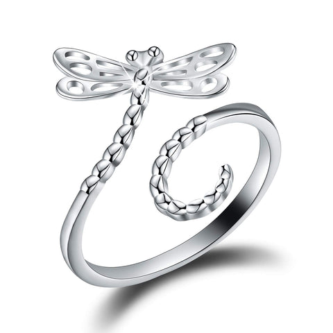 Hollow Carving Dragonfly Adjustable Rings