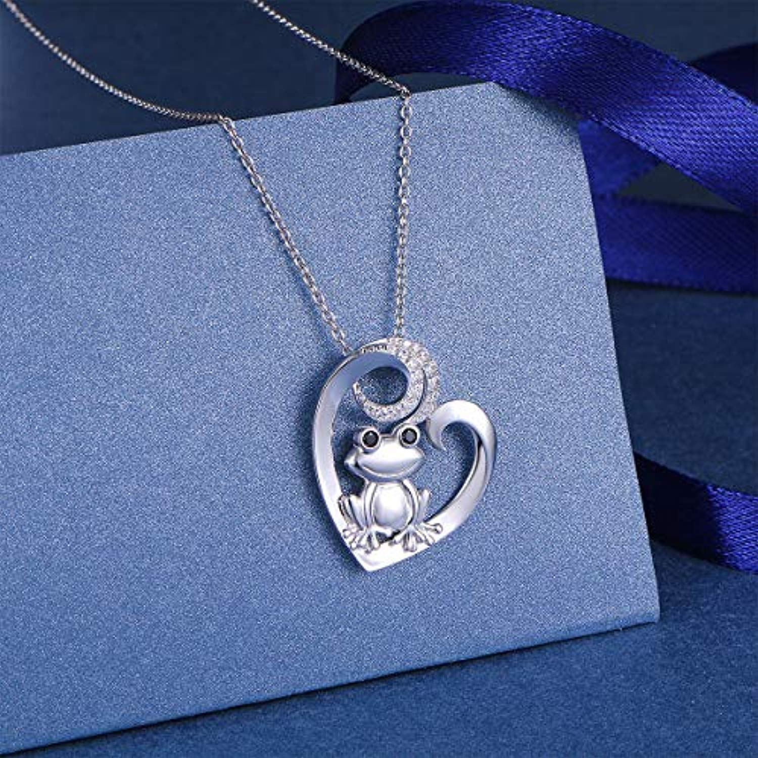 S925 Sterling Silver Frog Heart Necklace for Women Girl