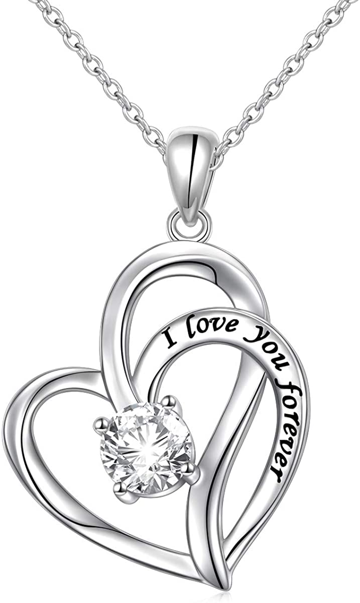 925 Sterling Silver Cubic Zirconia Heart Pendant Necklace for Women Birthday Gifts