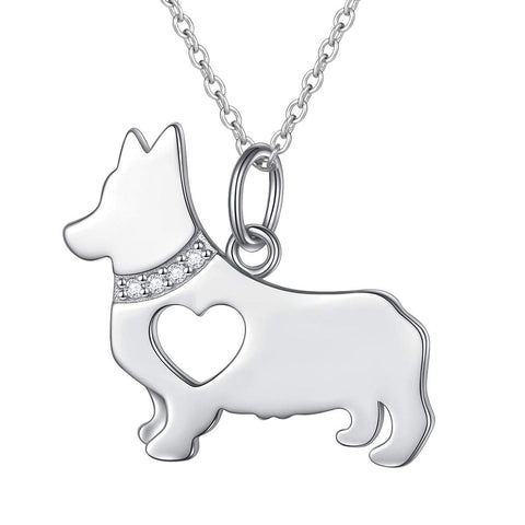 Hollow Heart Corgi Dog Pendant