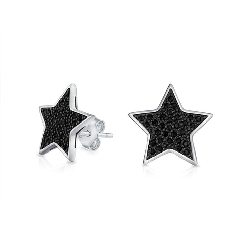Simple Patriotic Star Cubic Zirconia Micropave CZ Stud Earrings For Men Women Black Plated 925 Sterling Silver