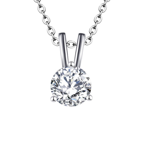 14K White Gold 0.75ct Forever One Moissanite Solitaire Pendant Necklace