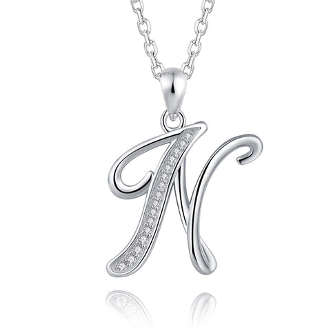 S925 Sterling Silver 26 Initial Letter Pendant Alphabet with CZ Necklace