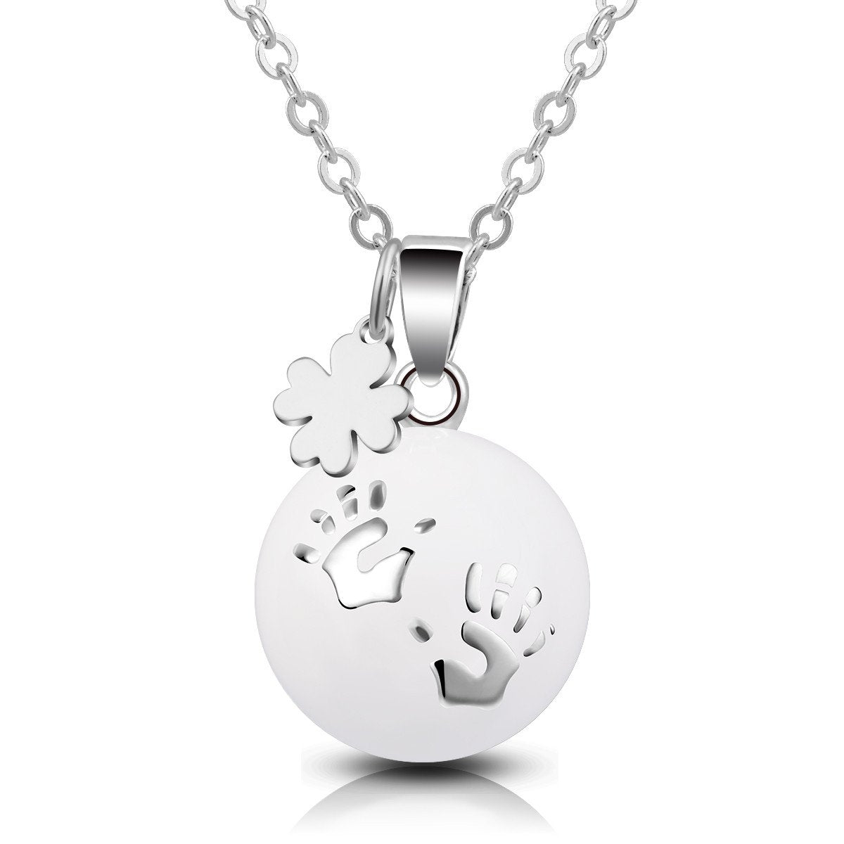 925 Sterling Silver Harmony Bola Pregnancy Necklace & Lucky Clover Music Chime Pendant Wishing Ball