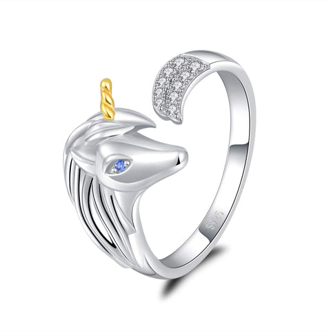 925 Sterling Silver Unicorn  Rings Gifts for Girls Women