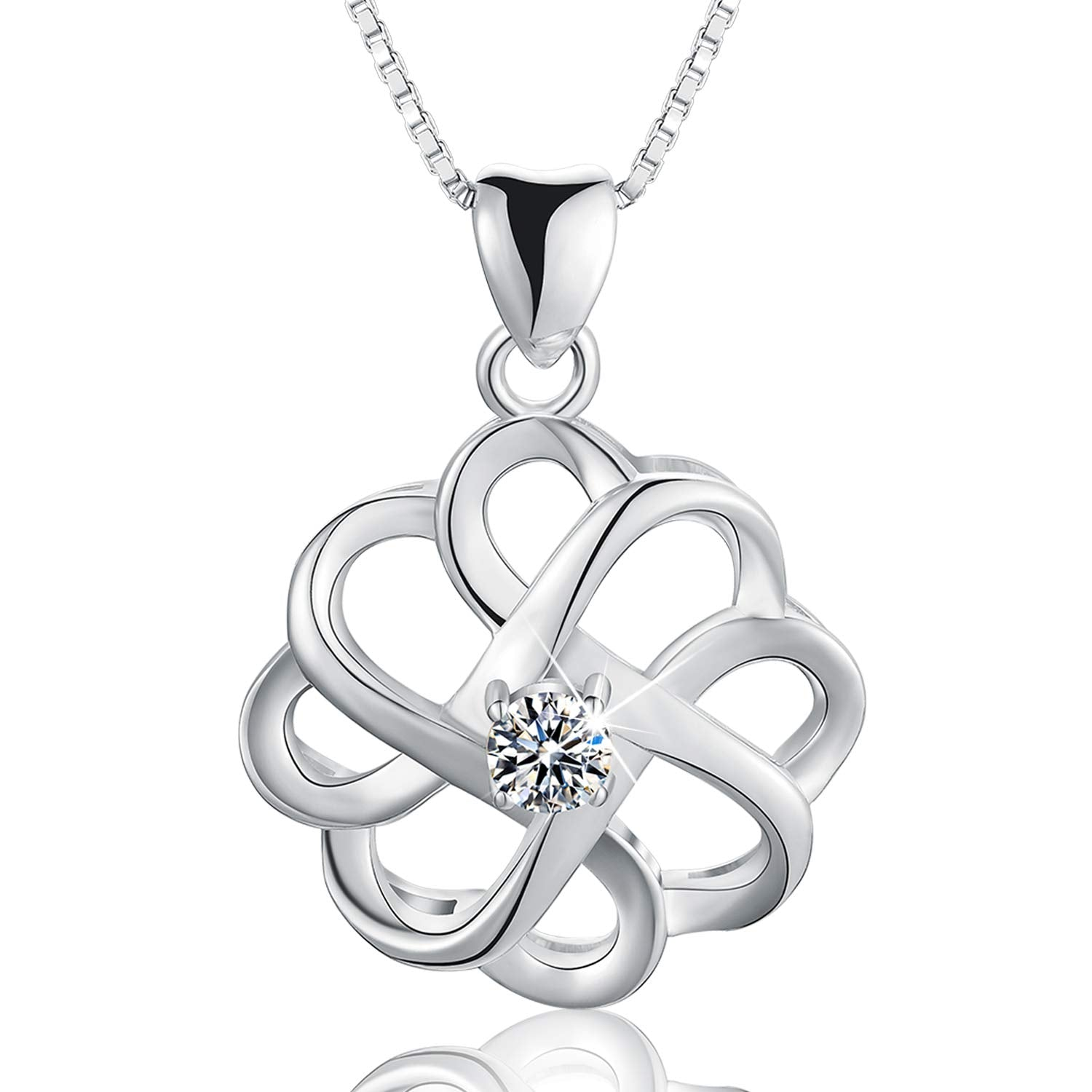 925 Sterling Silver CZ Simulated Diamond Vintage Celtic Knot Pendant Necklace Cubic Zirconia Pendant with Necklaces for Girls and Women
