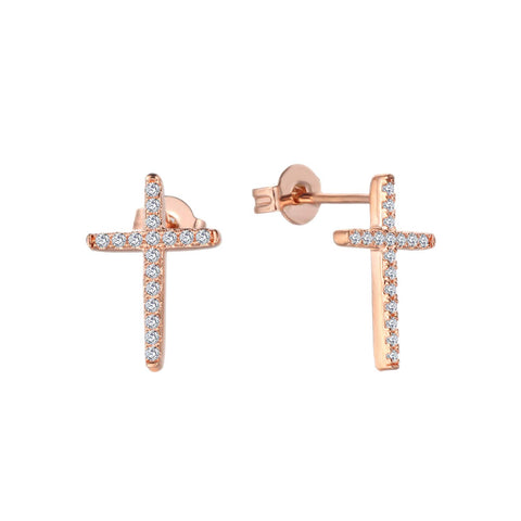 14K Rose Gold Diamond Cross Earrings