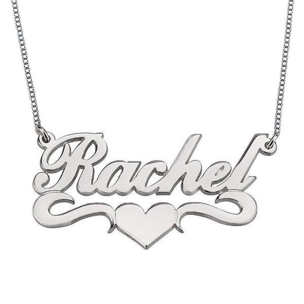 """Rachel"" Personalized Middle Heart Name Necklace Adjustable"
