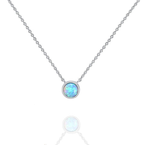 14K Gold Plated Round Created Opal Necklace