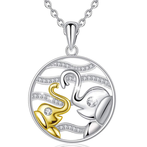 S925 Sterling silver Lucky Elephant Animals Necklace with Cubic Zirconia, Mother Daughter Jewelry