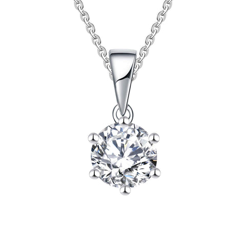 14k White Gold 1.25ct Forever One Moissanite Solitaire Pendant Necklace