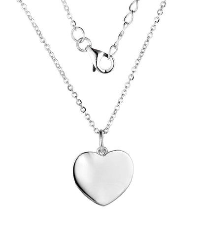 14k White Gold Heart Pendant Necklace, chain 40-50cm