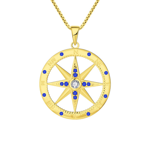 925 Sterling Silver Compass Necklace Pendant