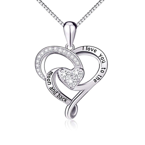 925 Sterling Silver Black Engraved I Love You To The Moon and Back Love Heart Pendant Necklace
