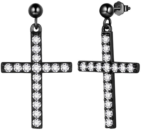 Cross Earrings Mens 925 Sterling Silver Crosss Drop/Studs/Clip on Earring 18K Gold/Rose Gold/Black Gun Plated Christian Jewelry Black/Blue Christmas Gift