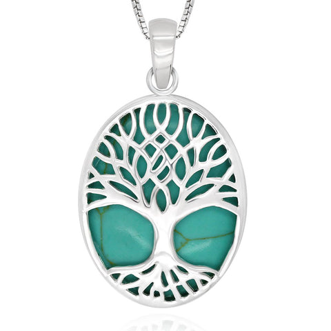 Tree of Life Oval Pendant Necklace