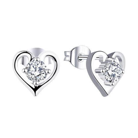 14K White Gold Heart Shape Moissanite Diamond Stud Earrings