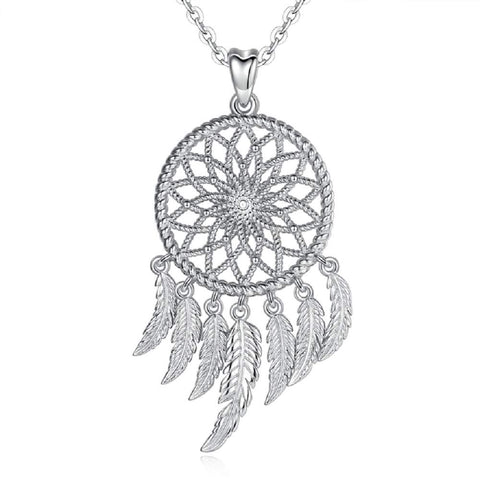S925 Sterling Silver Dreamcatcher-multi-feather Necklace Pendant For Women