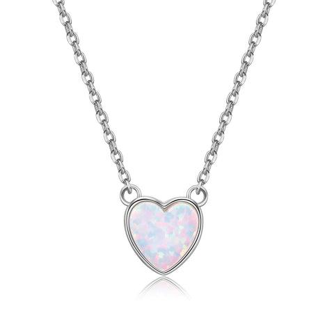 Heart White Opal Necklace
