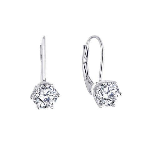 14K White Gold Moissanite Leverback Dangle Drop Earrings