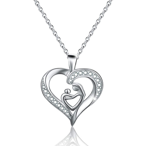 I Love You Mom Necklace CZ Love Heart Pendant