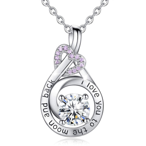 S925 Sterling Silver CZ Heart Pendant I Love You to The Moon and Back Infinity Necklaces