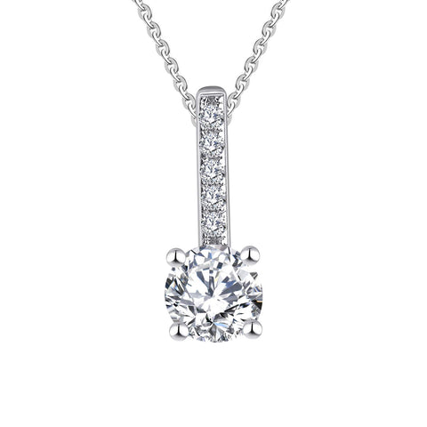 14k White Gold 5mm Forever One Moissanite and 0.14ct Diamond Heart Pendant Necklace