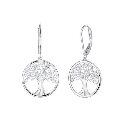 925 Sterling Silver Tree of Life Dangle Earrings Minimalist Jewelry Gifts for Women Mom Lover Family with Gorgeous Jewelry Box