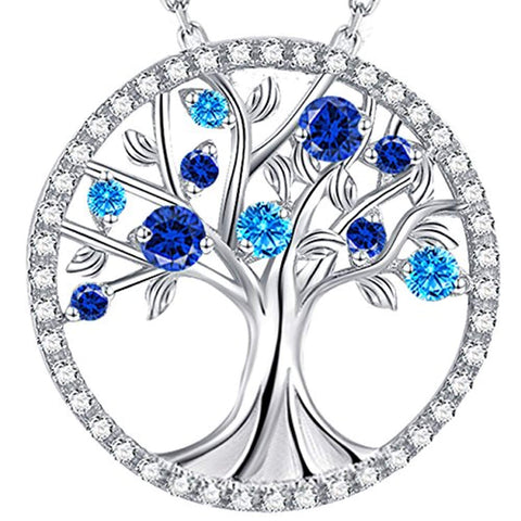 Silver Tree of Life Blue Topaz Necklace Pendants