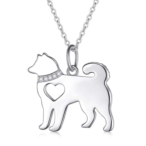 Hollow Heart Husky Dog Pendant