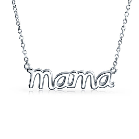 Mama Name Plate Talk Word Station Pendant Necklace For Mother For Women 925 Sterling Silver Or Rose Gold Plated Silver
