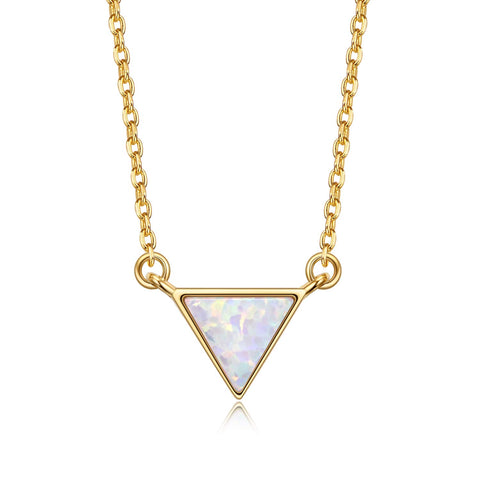 Triangle Created Opal Necklace