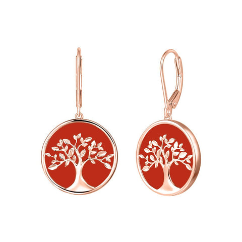 Tree of Life Dangle Earrings Sterling Silver Natural  Red Onyx Mother of Pearl Fine Jewelry