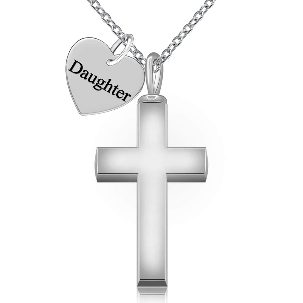 925 Sterling Silver Cremation Jewelry Forever in My Heart Cross Urn Ashes Necklace