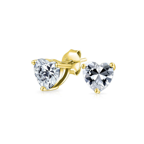 Cubic Zirconia Heart AAA CZ Solitaire Stud Earrings For Women 14K Gold Plated 925 Sterling Silver